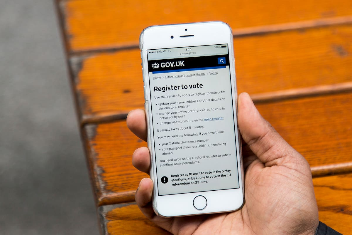 GOV.UK register to vote viewed on a mobile.