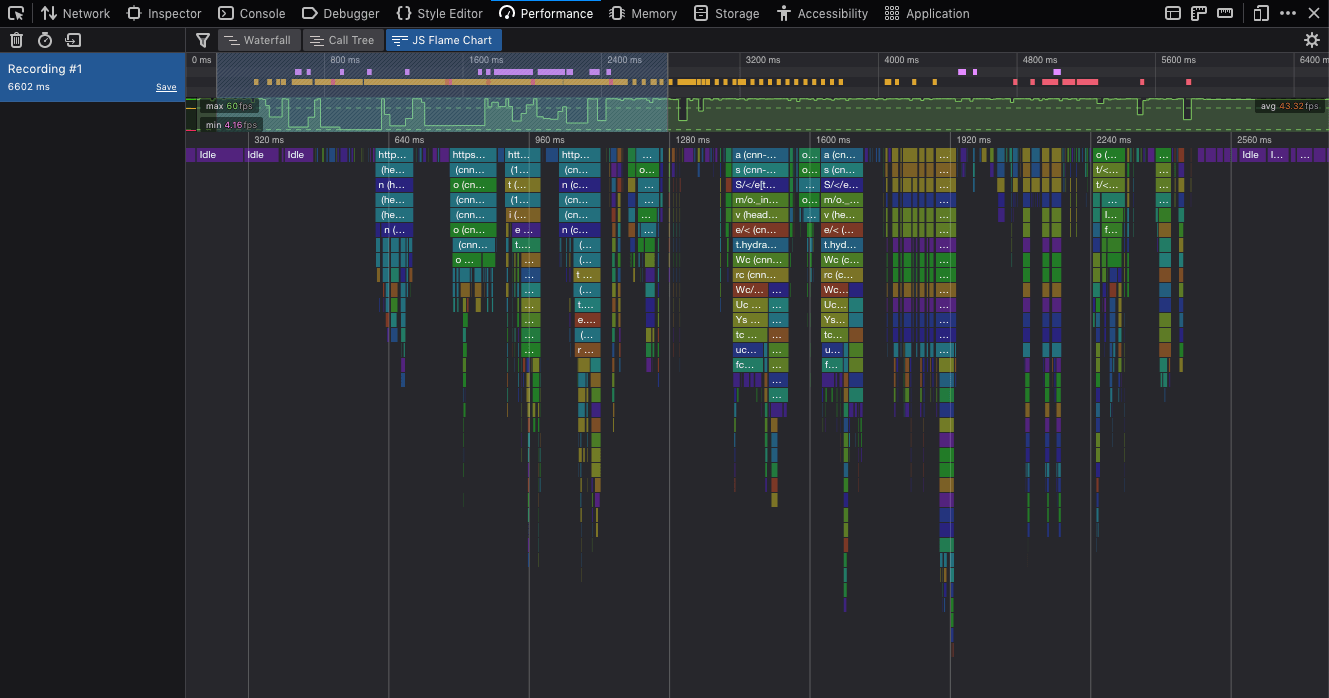 Image of the Firefox developer tools performance panel.