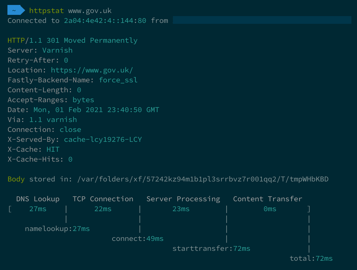 HTTPStat running in the terminal and reporting on timings from visiting GOV.UK.