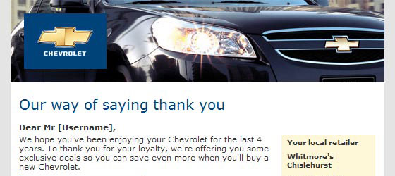 Chevrolet email campaign image