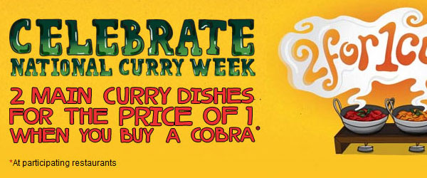 Cobra Beer - Two for One Curry image