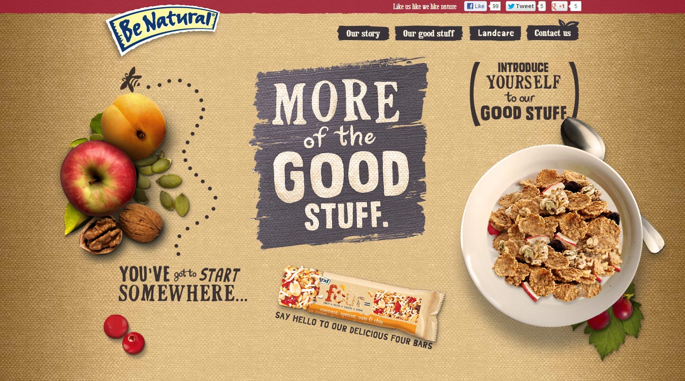 Kellogg's Be Natural homepage 1.