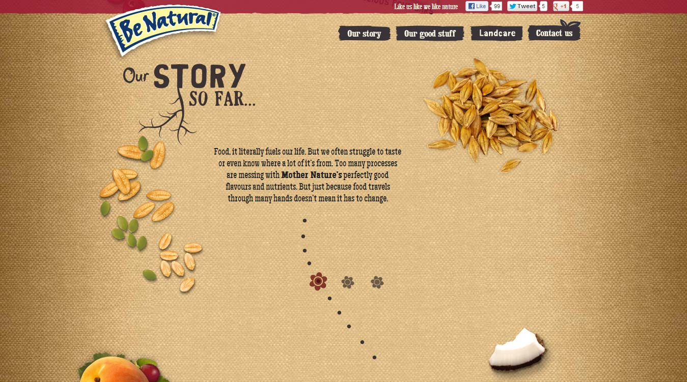 Kellogg's Be Natural homepage 2.