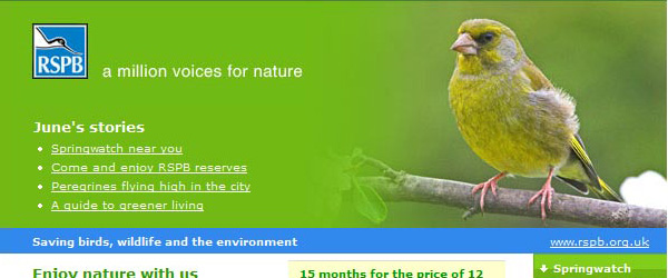 RSPB monthly email newsletters image