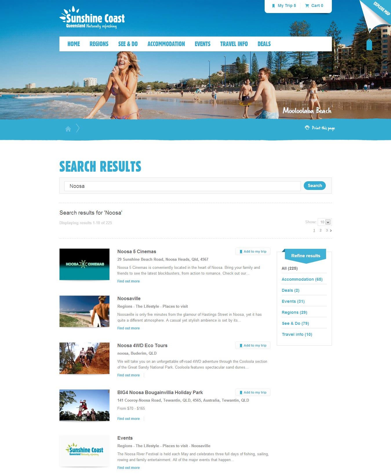Sunshine Coast search results page.